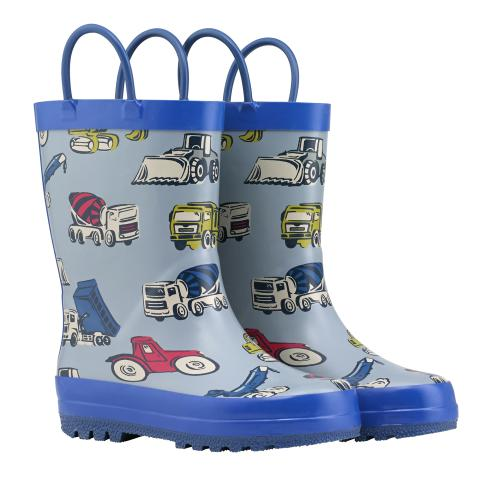 WELLINGTON BOOTS BOYS W/HANDLES TRUCKS & DIGGERS DENIM 215MM