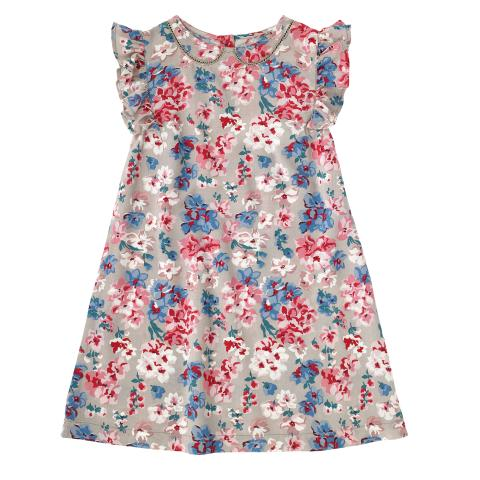 GIRLS FRILL SLEEVE DRESS WOODSTOCK FLOWERS MINK 2-3Y