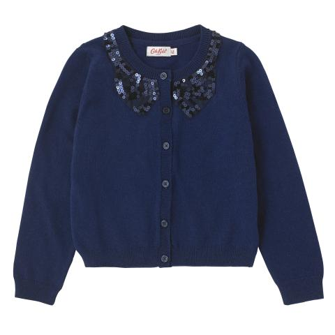 GIRLS SEQUIN BOW CARDIGAN NAVY 5-6Y