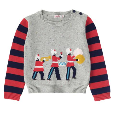 BOYS KNITTED MARCHING BAND JUMPER GREY MARL 4-5Y