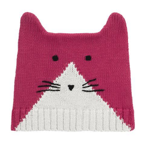 GIRLS KNITTED CAT HAT PINK