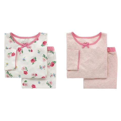 GIRLS 2 PK PJS HAMPSTEAD DITSY OFF WHITE 2-3Y