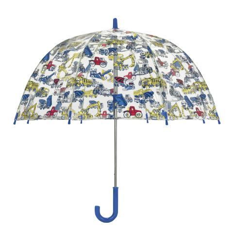 KIDS UMBRELLA TRUCKS&DIGGERS GREY BLUE