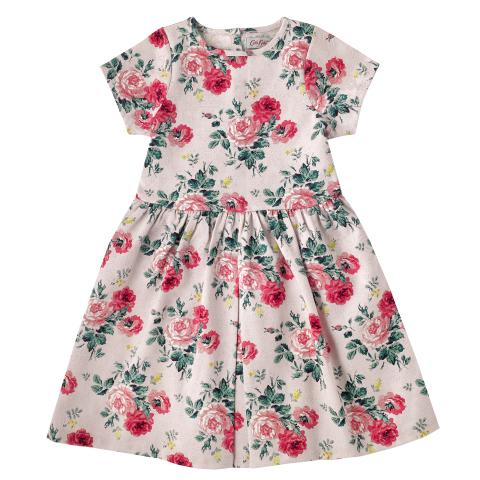GIRLS PLEAT JACQUARD DRESS SMALL ANTIQUE ROSE DUSTY PINK 3-4Y