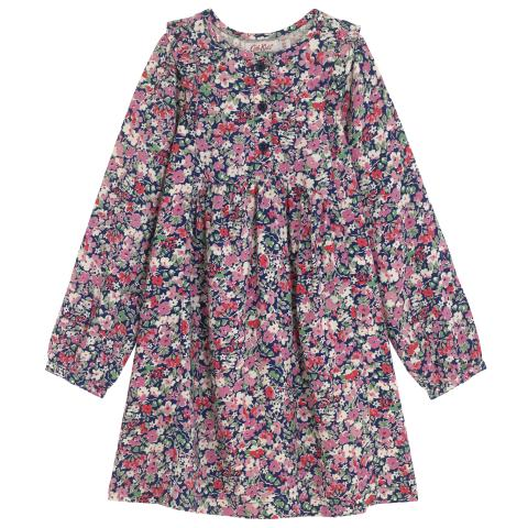 GIRLS  FRILL YOKE DRESS PAPER DITSY LIGHT NAVY 7-8 YR