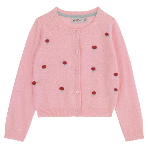 GIRLS KNIT CARDIGAN PLAIN WITH PLACEMENT PRINT PINK 3-4 Y