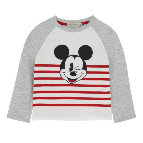 DISNEY BOYS T-SHIRT PLAIN WITH PLACEMENT PRINT PALE GREY 3-4 Y