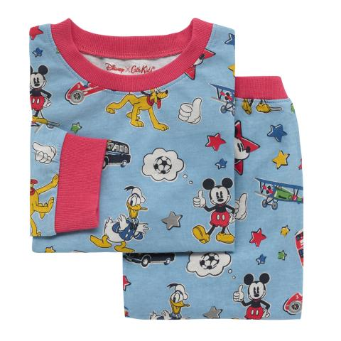 DISNEY BOYS PJ MICKEY & FRIENDS PATCHES DUSTY BLUE 3-4 Y