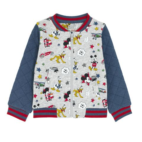 DISNEY BOYS BOMBER MICKEY & FRIENDS PATCHES GREY MARL 3-4 Y