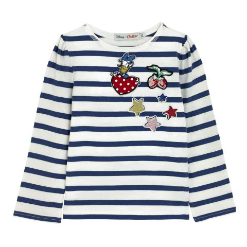 DISNEY GIRLS T-SHIRT WITH BADGES BRETON STRIPE NAVY 3-4 Y