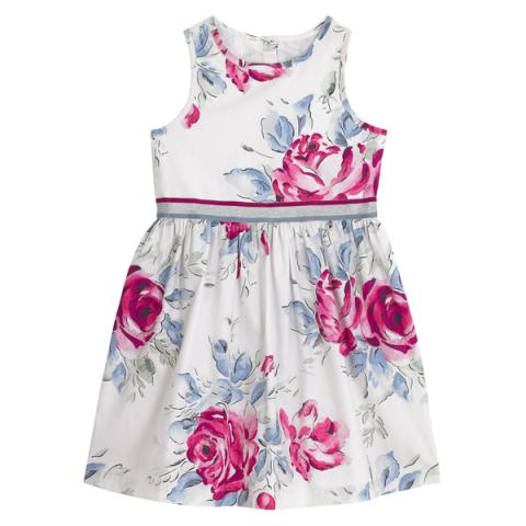 GIRLS SLEEVELESS DRESS BIRTHDAY ROSE VINTAGE CREAM