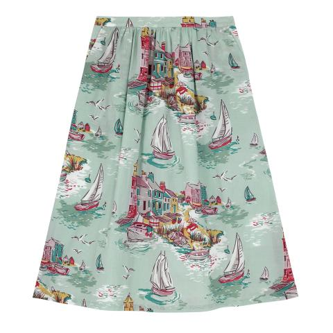 COTTON CAMBRIC SKIRT  TRESCO DUCK EGG
