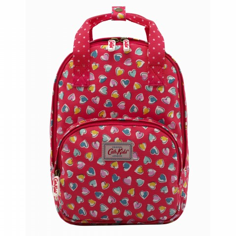 KIDS MEDIUM BACKPACK MULTI HEARTS BRIGHT RED