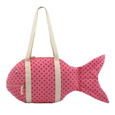 KIDS FISH BEACH BAG LITTLE SPOT PINK RED