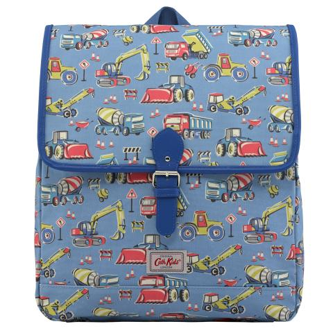 KIDS BOXY BACKPACK W/CHEST STRAP CONSTRUCTION SITE DENIM