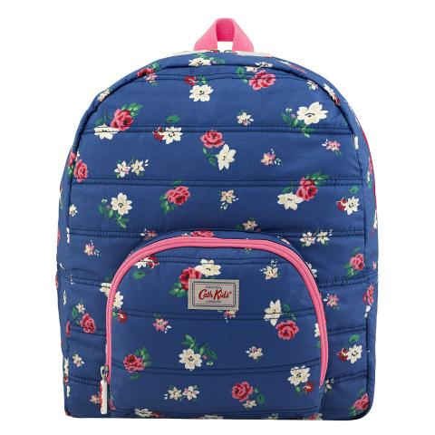KIDS QUILTED LARGE RUCKSACK W/CHEST STRAP HAMPSTEAD DITSY MID BLUE