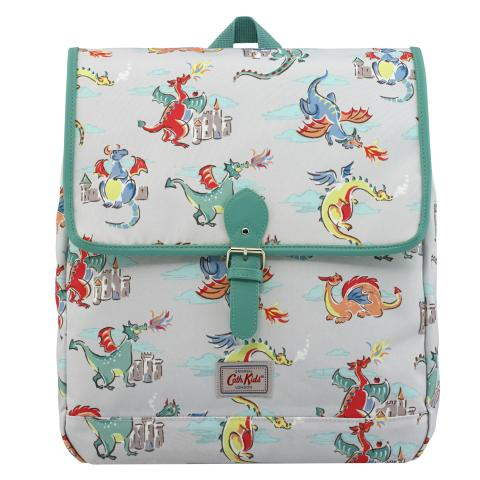 KIDS BOXY BACKPACK W/CHEST STRAP DRAGONS SOFT GREY