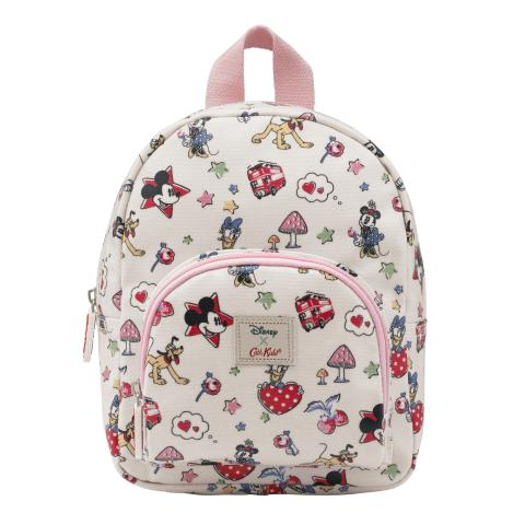 Disney Kids Mini Rucksack Chest Strap Mickey & Minnie Little Patches Ivory