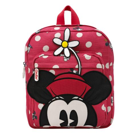 Disney Kids Medium Backpack Minnie Mickey & Friends Button Spot Red