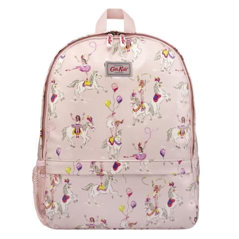 KIDS BACKPACK WITH MESH POCKET PRANCING PONIES PALE PINK