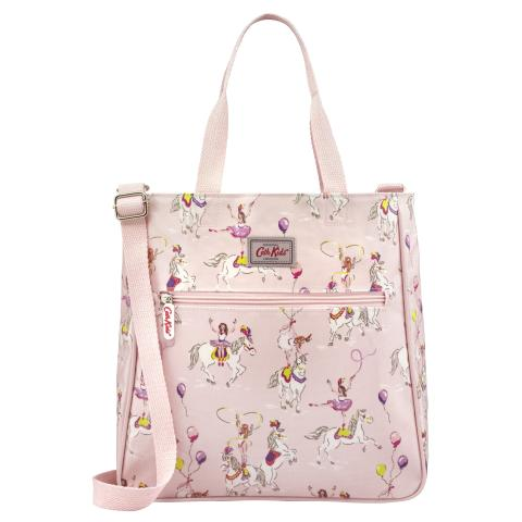 KIDS BOOKBAG WITH STRAP PRANCING PONIES PALE PINK