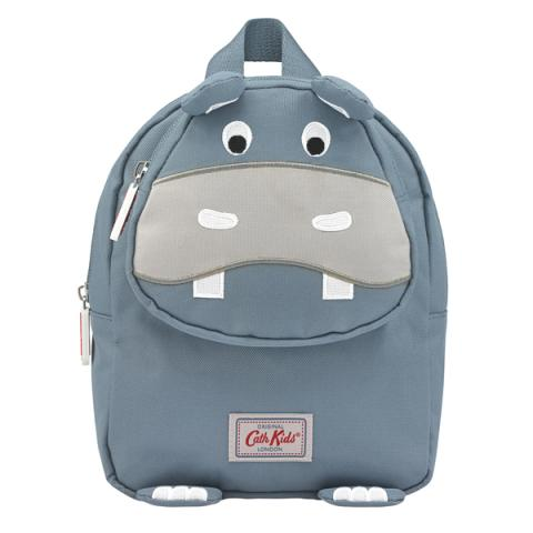 KIDS HIPPO MINI RUCKSACK WITH CHEST STRAP SOLID GREY BLUE