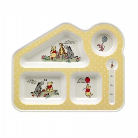 DISNEY MELAMINE FOOD TRAY PLAIN W/PLACEMENT PRINT YELLOW