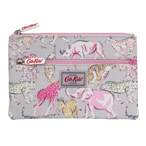 KIDS DOUBLE ZIP PENCIL CASE SAFARI ANIMALS PASTEL MULTI