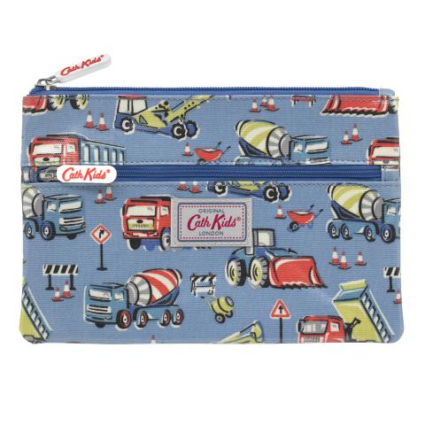 KIDS DOUBLE ZIP PENCIL CASE CONSTRUCTION SITE DENIM