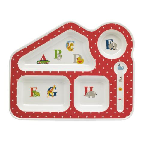 MELAMINE FOOD TRAY ANIMAL ALPHABET MULTI