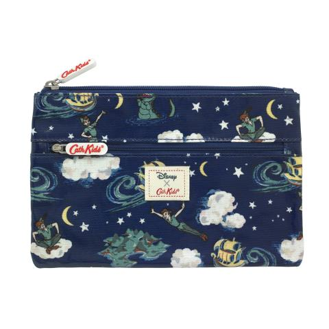 DISNEY KIDS DOUBLE ZIP PENCIL CASE PETER PAN MINI CLOUDS SOFT NAVY