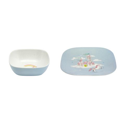 BOWL PLATE UNICORNS RAINBOWS