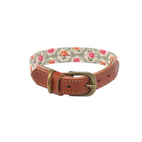 Provence Rose Soft-Touch Real Leather Collar with Printed Inner