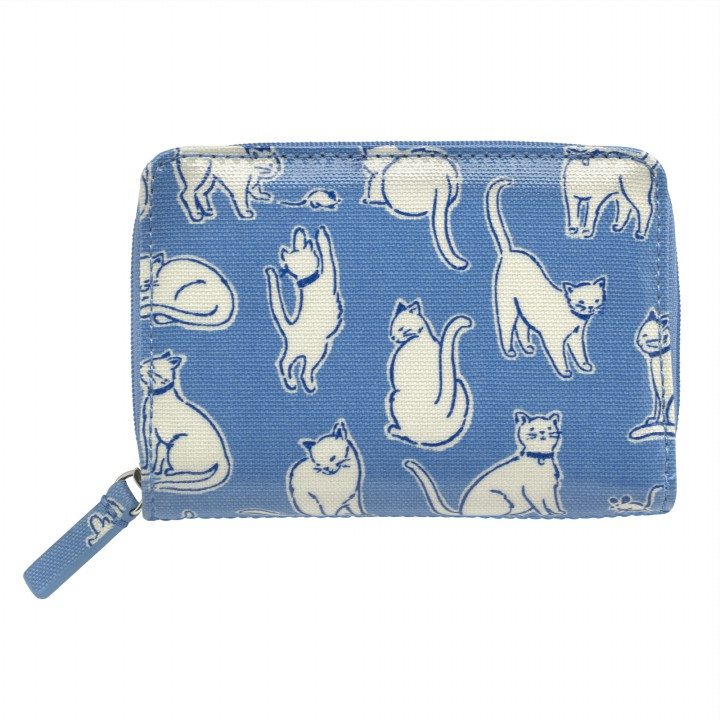 POCKET PURSE MONO CATS MID BLUE