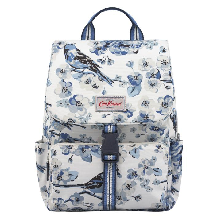 BUCKLE BACKPACK MEADOWFIELD BIRDS CREAM BLUE