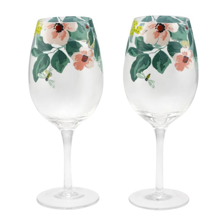 SET OF 2 WINE GLASSES MORNINGTON LEAVES OFF WHITE GREEN