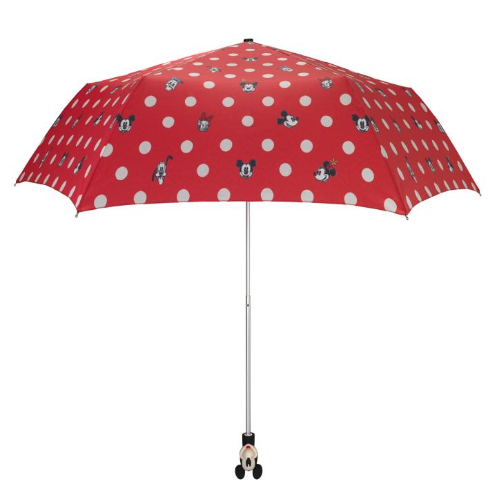 Disney Mickey Handle Umbrella - UV Mickey & Friends Button Spot Red