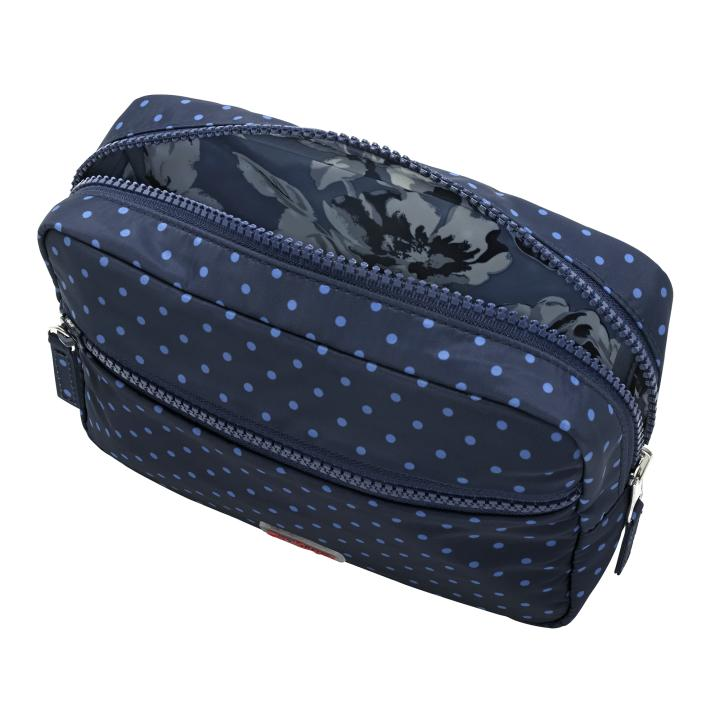 REVERSIBLE LEISURE WASH BAG ETCHED FLORAL PERIWINKLE