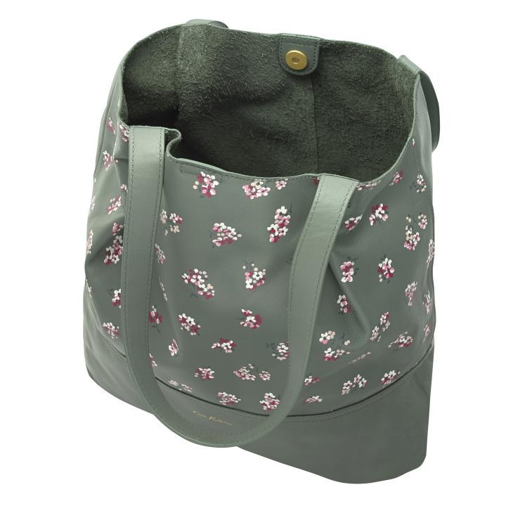 LEATHER PRINTED TOTE WOODSTOCK DITSY KHAKI