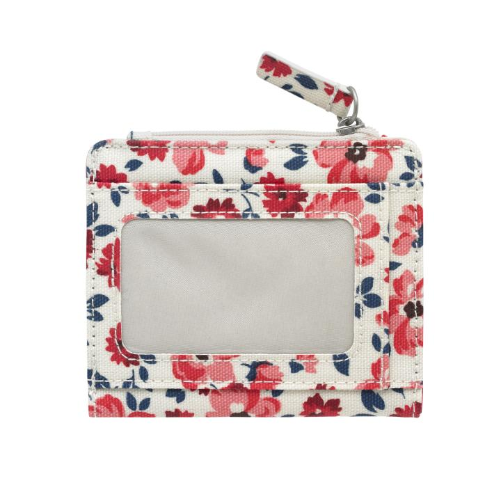 SMALL FOLDED PURSE WITH COIN SLOT ISLAND FLOWERS VANILLA BLUE